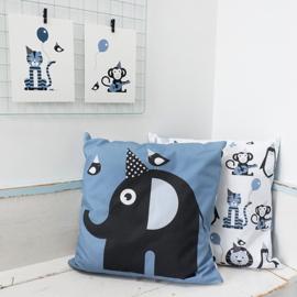 Kussen olifant  jeans blauw - inclusief binnenkussen