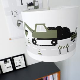 Jongenskamer lamp voertuigen - olijf groen