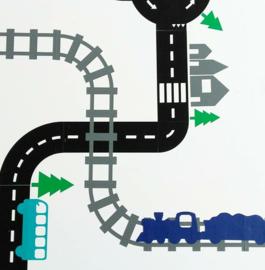Sticker treinbaan rails zwart