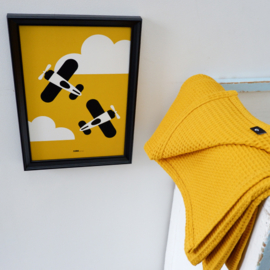 Poster vliegtuigen kinderkamer -  oker geel