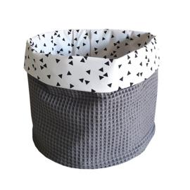 Commodemandje wafelstof grijs- zwart wit triangel