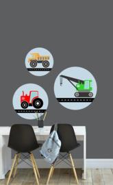 Muursticker set kinderkamer - voertuigen kleur