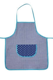 Kinderkookschort ruit+ster (aquablauw-blauw)