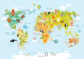 Poster wereldkaart dieren - kinderkamer