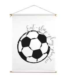 Textiel poster voor voetbalkamer - zwart wit