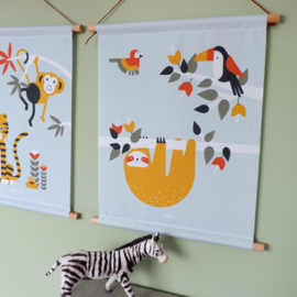 Textielposter jungle kinderkamer toekan + luiaard - mint