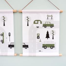Textielposter caravan voertuigen kinderkamer - olijfgroen