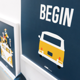 Poster VW bus met tekst Let the adventure begin  -  donker blauw