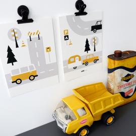 Posterset kinderkamer Caravan voertuigen - oker geel