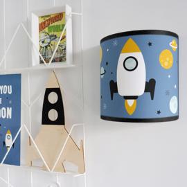 Wandlamp kinderkamer  ruimtevaart raket - jeansblauw