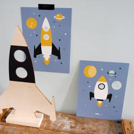 Posterset raket ruimtevaart kamer - jeansblauw