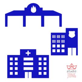 Autobaan sticker uitbreidingsset politiebureau brandweer kazerne ziekenhuis fel blauw