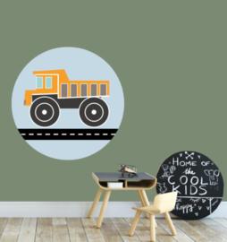 Muursticker kinderkamer - kiepwagen oranje