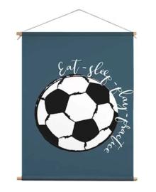 Textiel poster voor voetbalkamer - blauw