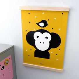 Poster apenkop babykamer - oker geel