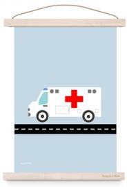 Poster ambulance  ziekenauto