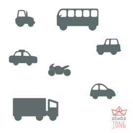 Autobaan sticker uitbreidingsset voertuigen donkergrijs