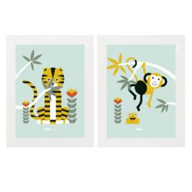 Posterset jungle  kamer aap + tijger - mint