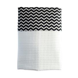 Ledikantdeken wafelstof zwart - wit zigzag