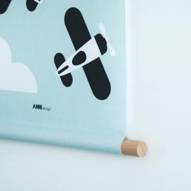 Textielposter vliegtuig kinderkamer mint old green