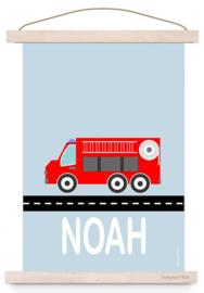 Poster brandweerkamer met naam