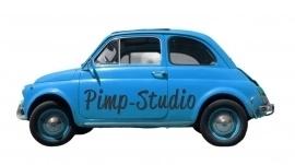 Strijkapplicatie Fiat 500 blauw