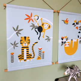 Textielposter jungle kinderkamer aap + tijger - mint