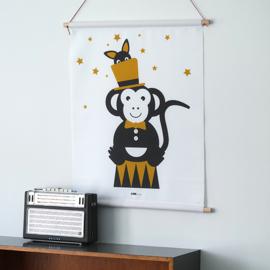 Textielposter circus aap kinderkamer - oker geel