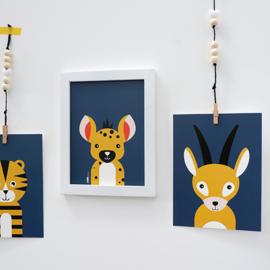 Posterset safari jungle dieren Gazelle + Hyena - donker blauw