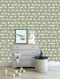 Voertuigen behang kinderkamer - army green