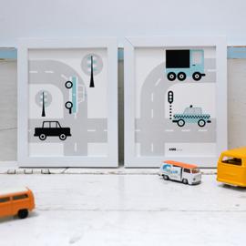 Posterset voertuigen auto  kinderkamer - licht blauw