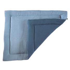 Boxkleed wafelstof reversible - oud blauw