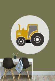 Muursticker kinderkamer - tractor oker
