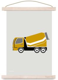 Poster jongenskamer cementwagen auto oker okergeel
