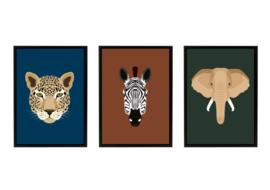 Posterset jungle kamer - Tijger Zebra Olifant