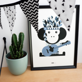 Poster aap indiaan kinderkamer - jeans blauw
