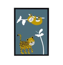 Poster jungle kamer luiaard en panter - blauw