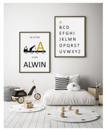 Naam poster kinderkamer takelwagen (diverse kleuren)