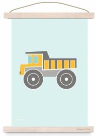Poster kinderkamer voertuig kiepwagen