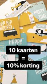 10 dubbele kaarten = 10% korting