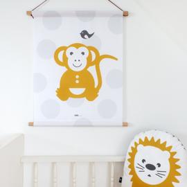 Textielposter aap stip - oker geel grijs