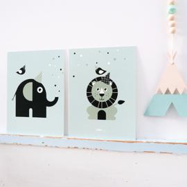 Posterset babykamer vrolijke dieren - mint (old green)
