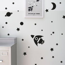 Muursticker set raket met sterren