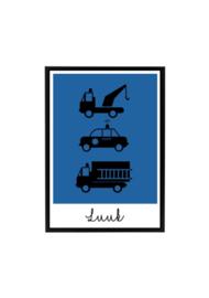 Poster kinderkamer voertuigen met naam (diverse kleuren)