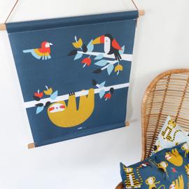 Textielposter jungle kinderkamer toekan + luiaard - blauw