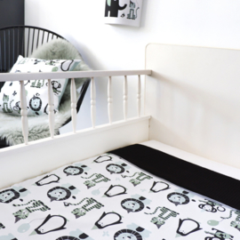 Ledikantdeken babykamer dieren mint (old green) - wafelstof  zwart