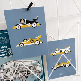 Posterset kinderkamer raceauto F1 - jeansblauw