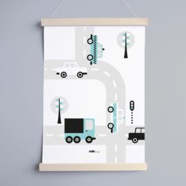 Poster auto voertuigen kinderkamer - lichtblauw