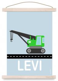 Poster jongenskamer kraanwagen met naam