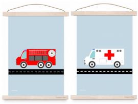Poster set jongenskamer - brandweer + ziekenwagen